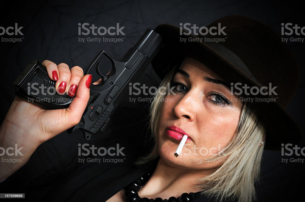 Spy Woman With Gun royalty-free stock photo