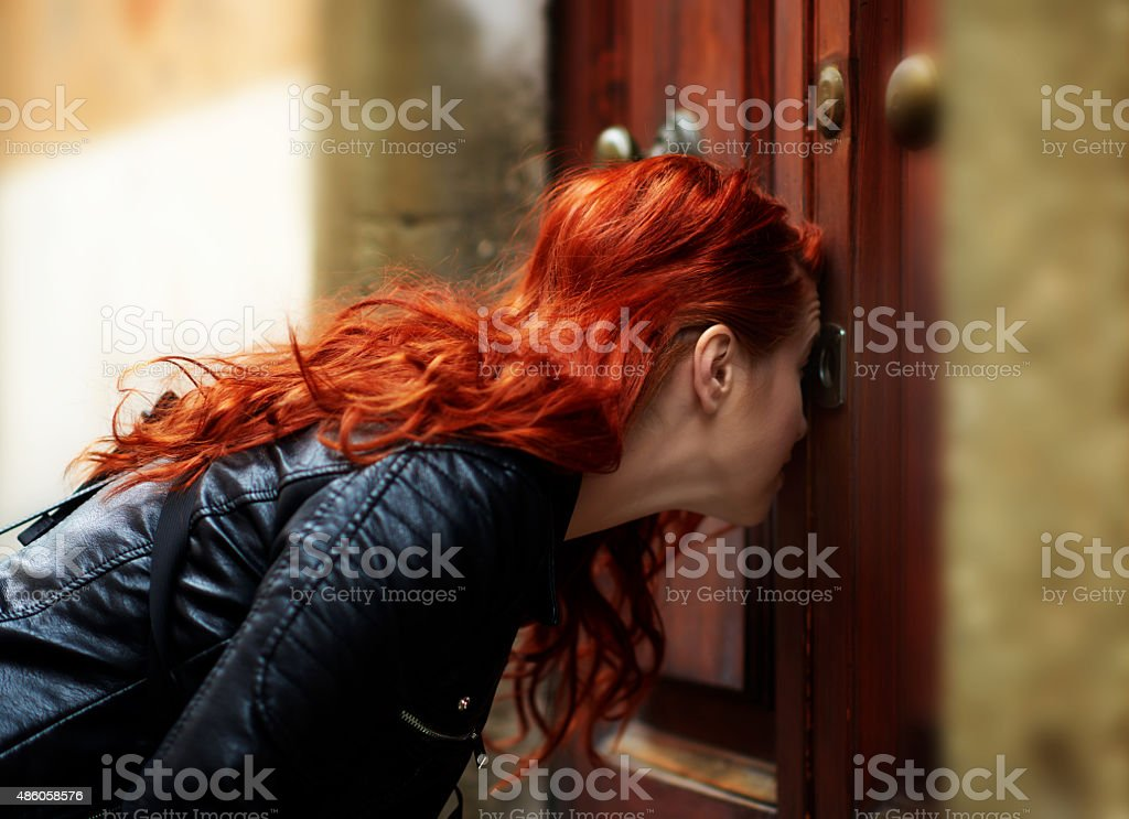 spying who's inside stock photo