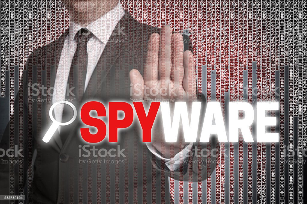 Spyware with matrix is shown by businessman stock photo
