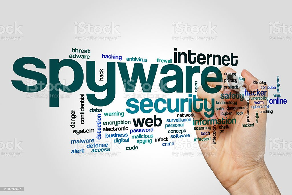 Spyware word cloud concept stock photo