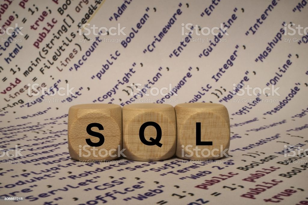 sql - cube with letters and words from the computer, software, internet categories, wooden cubes stock photo