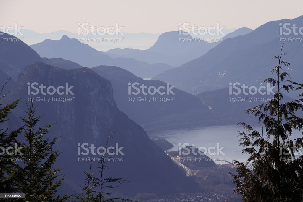 Squamish Chief with Howe Sound islands stock photo