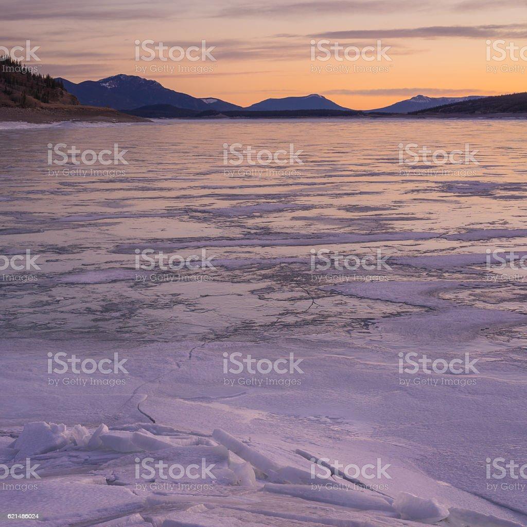 Square Abraham Lake Sunrise Landscape stock photo