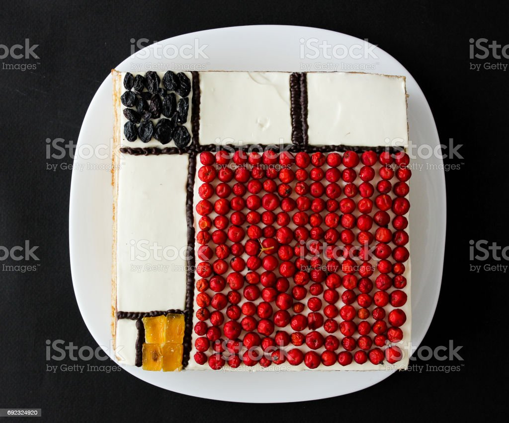 Square abstract cake - mondriani. view from above stock photo