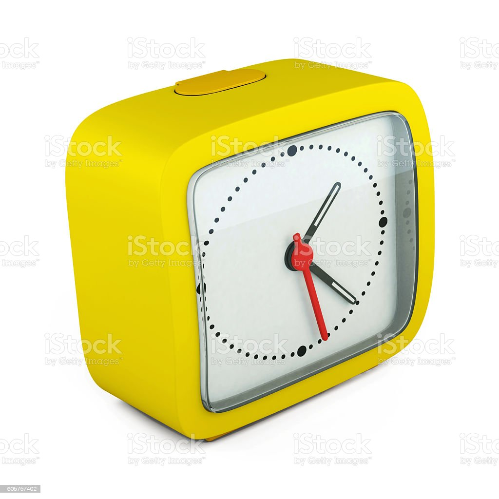 Square alarm clock on white background. 3d render image stock photo
