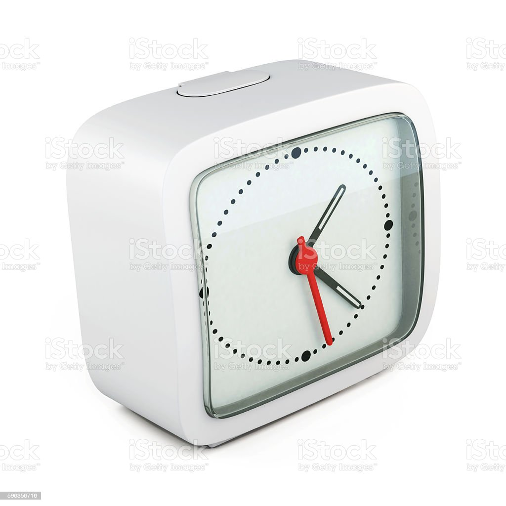 Square alarm clock on white background. 3d rendering stock photo