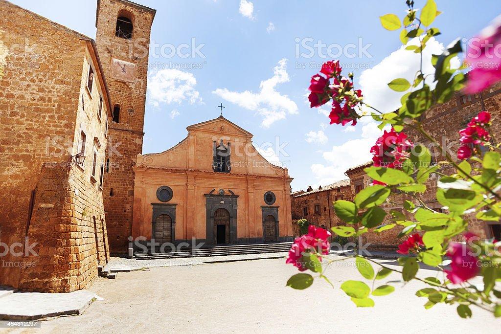 Square and Church of St. Donato. Civita di Bagnoregio stock photo