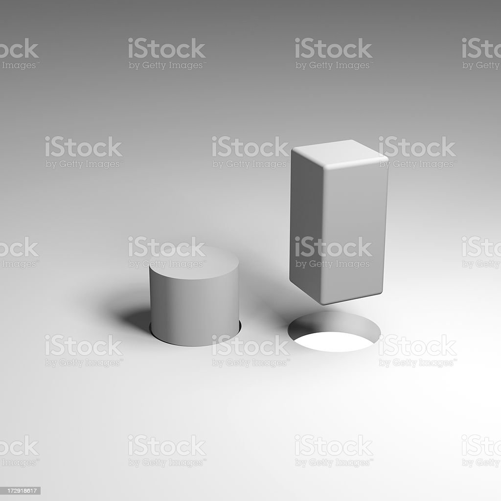 Square and Round Pegs royalty-free stock photo