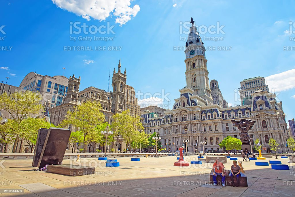 Square at Philadelphia City Hall with sculptures stock photo