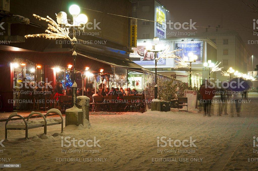 Square Bevk in Nova Gorica Snowy Night royalty-free stock photo