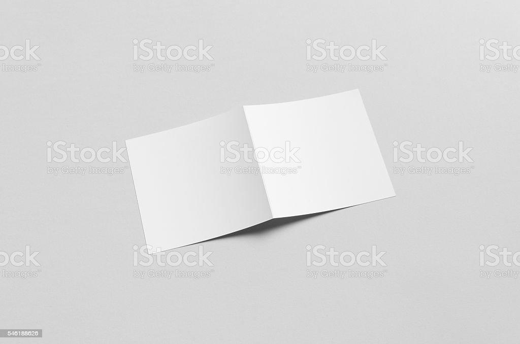 Square Bi-Fold / Half-Fold Brochure Mock-Up stock photo