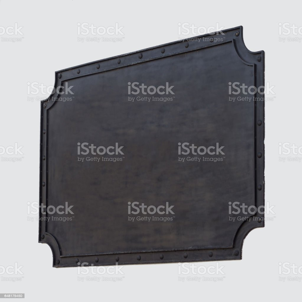 Horizontal front view of empty black square vintage signage on a...