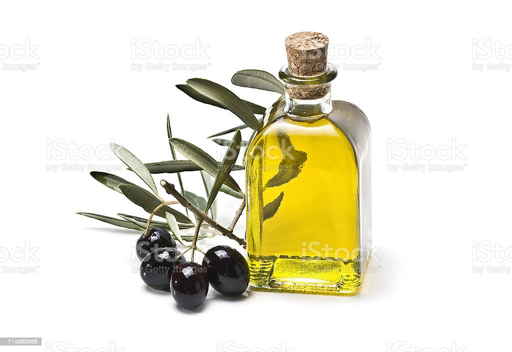 Square bottle of olive oil. stock photo