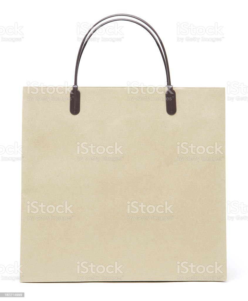 Square brown recycled paper shopping bag. royalty-free stock photo
