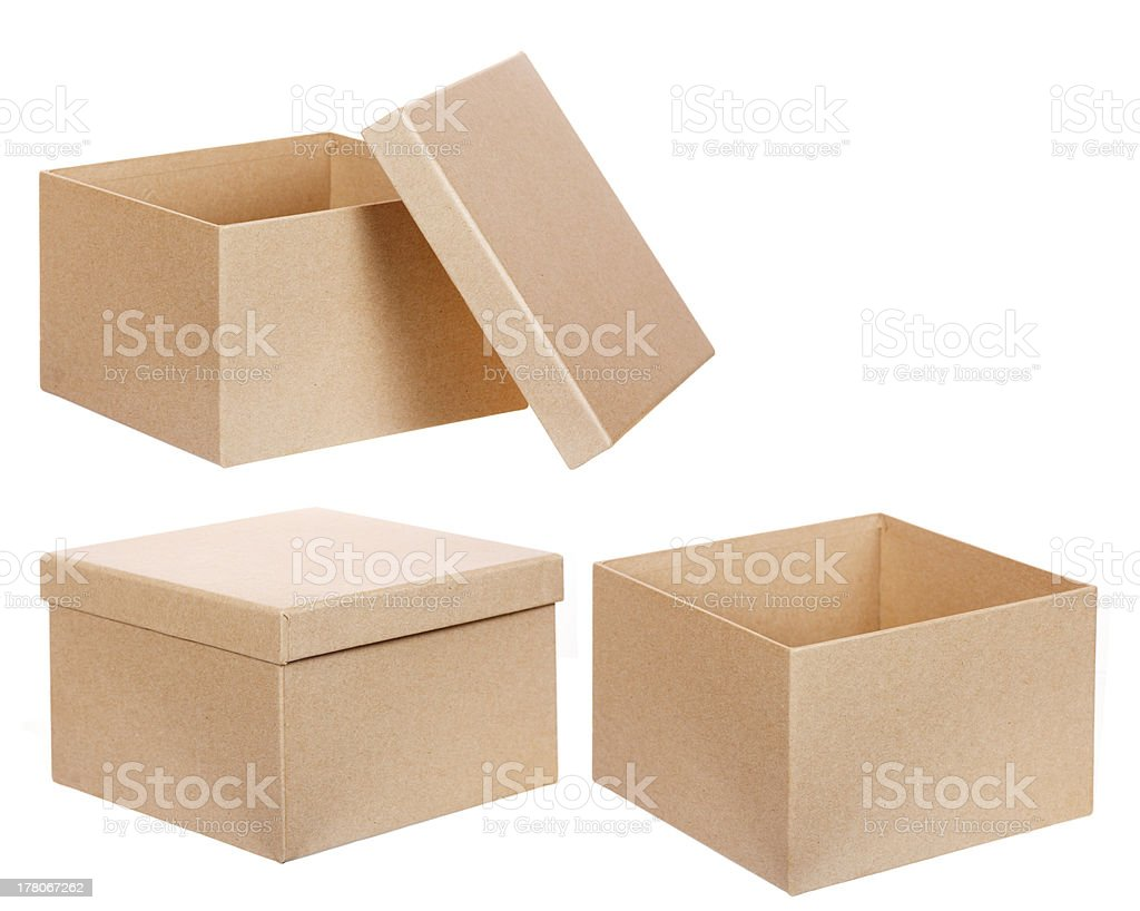 Square brown solid cardboard box isolated stock photo
