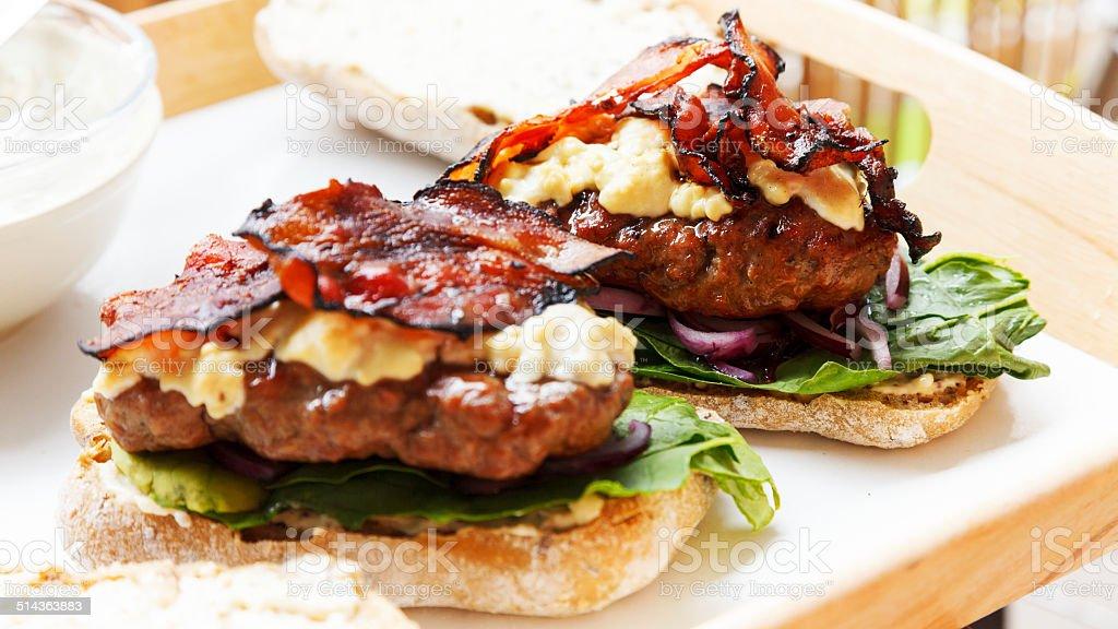 Square burger stock photo