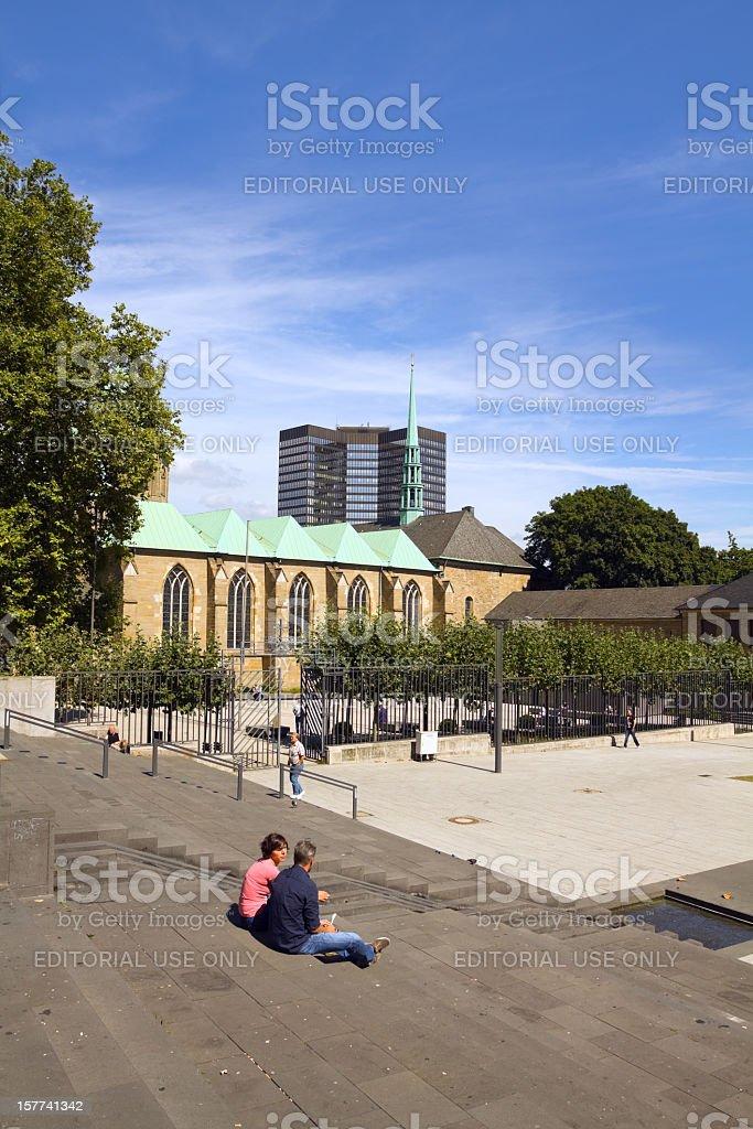 Square Burgplatz in Essen stock photo