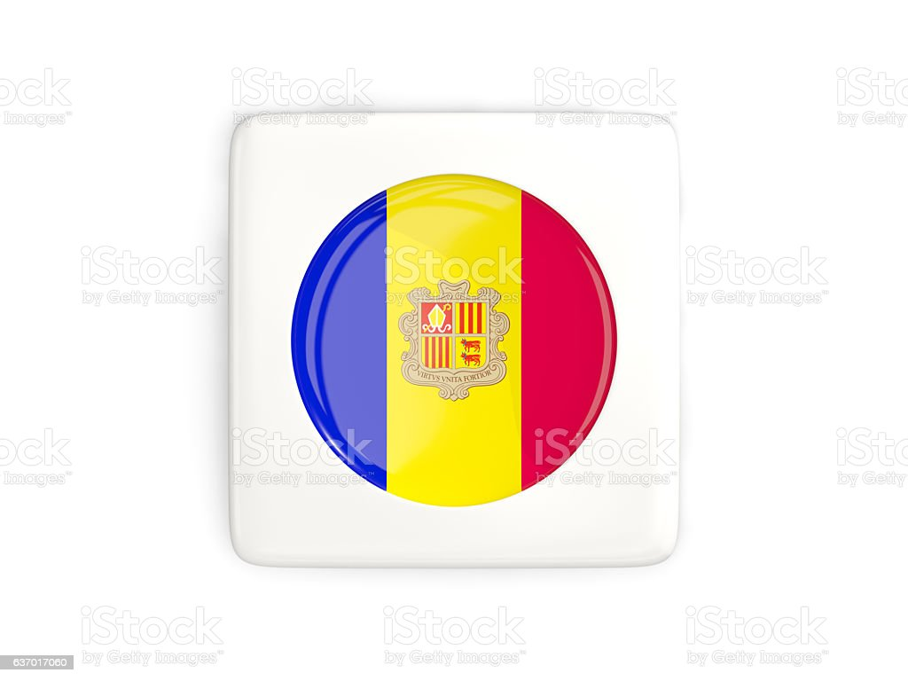 Square button with round flag of andorra stock photo