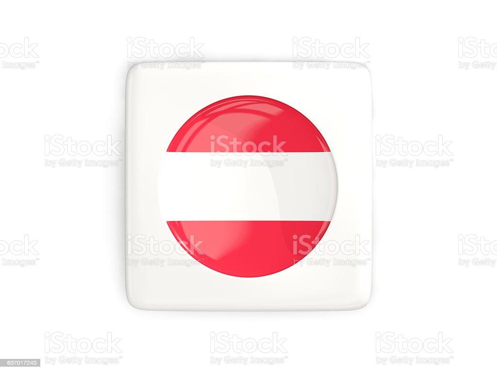 Square button with round flag of austria stock photo