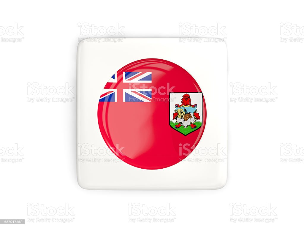 Square button with round flag of bermuda stock photo