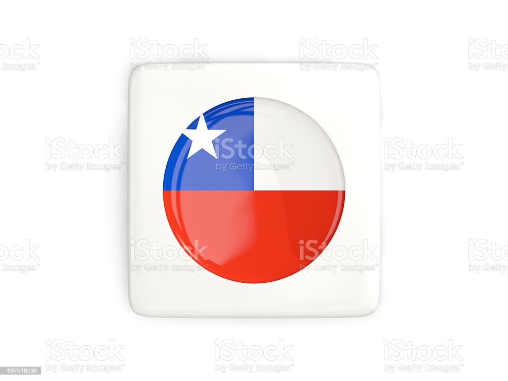 Square button with round flag of chile stock photo