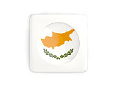 Square button with round flag of cyprus