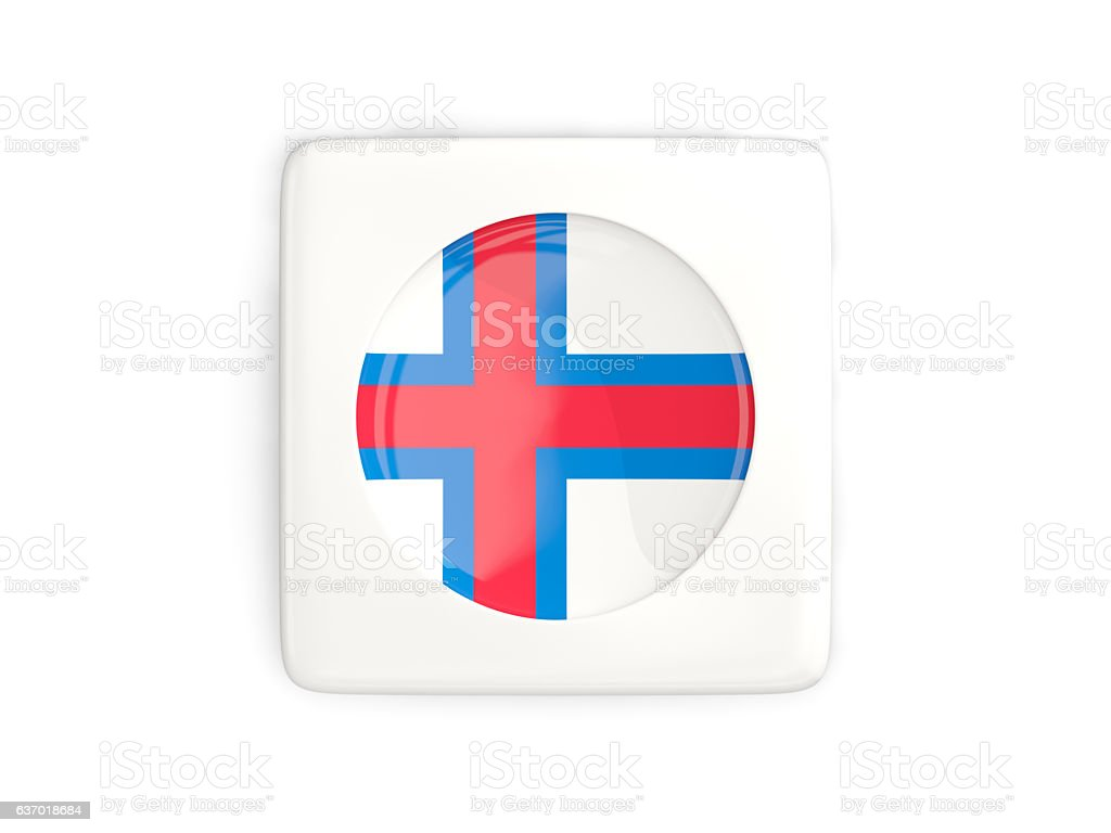 Square button with round flag of faroe islands stock photo