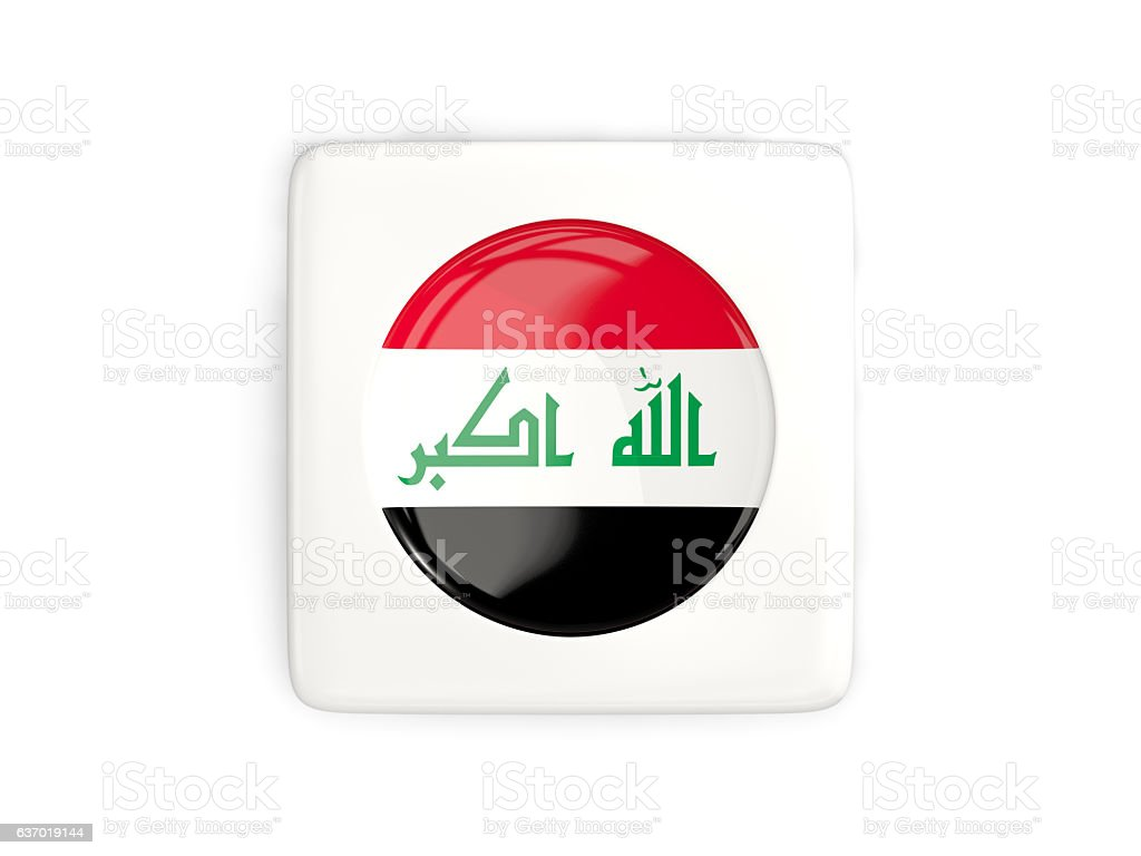 Square button with round flag of iraq stock photo