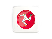 Square button with round flag of isle of man
