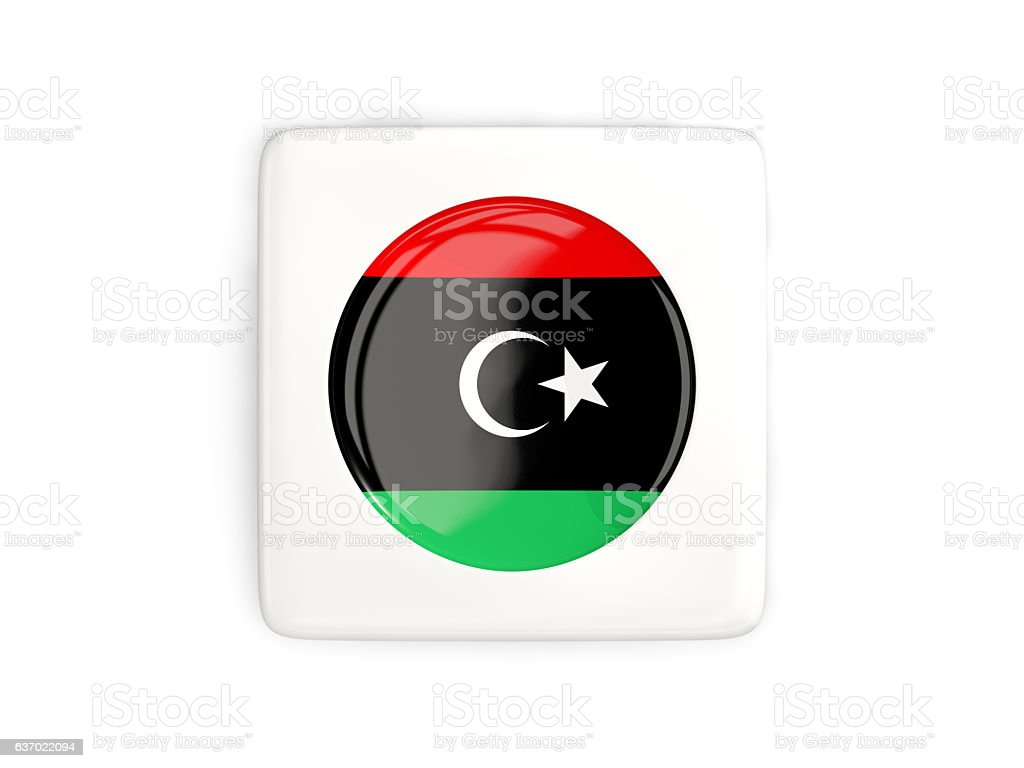 Square button with round flag of libya stock photo