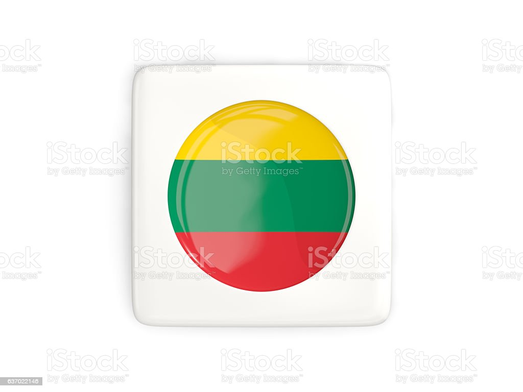 Square button with round flag of lithuania stock photo