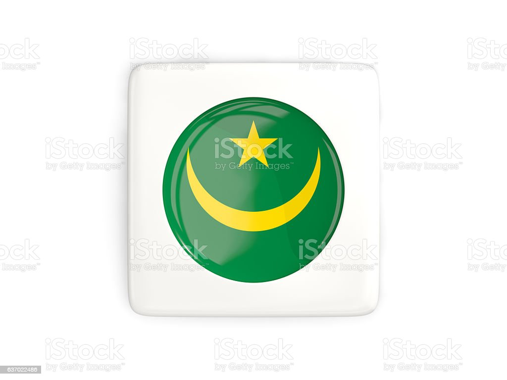 Square button with round flag of mauritania stock photo