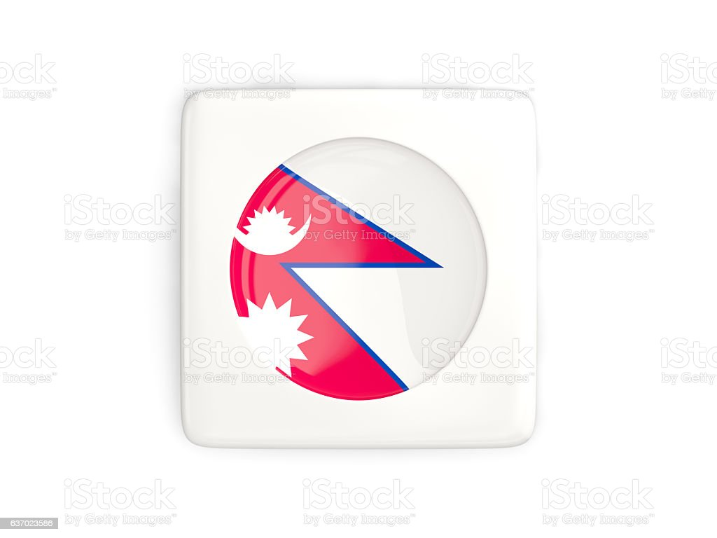 Square button with round flag of nepal stock photo