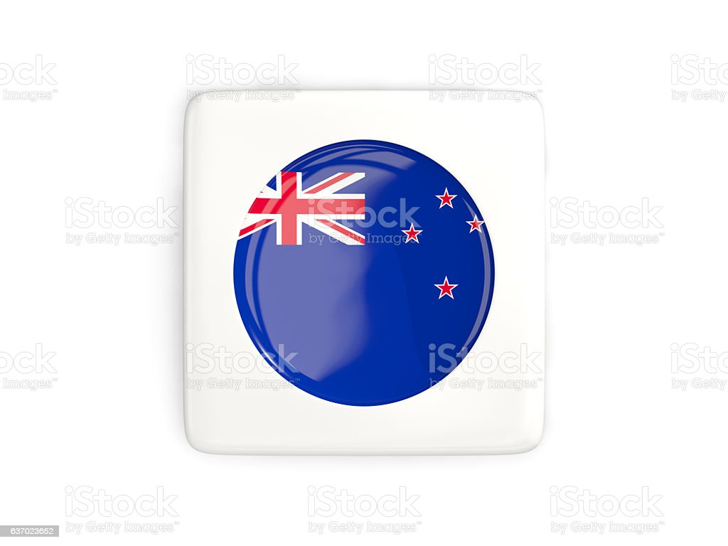 Square button with round flag of new zealand stock photo