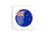 Square button with round flag of new zealand