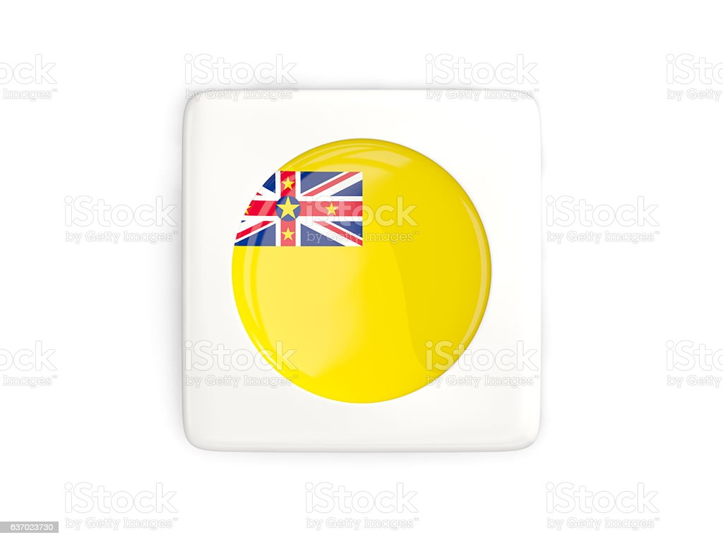 Square button with round flag of niue stock photo