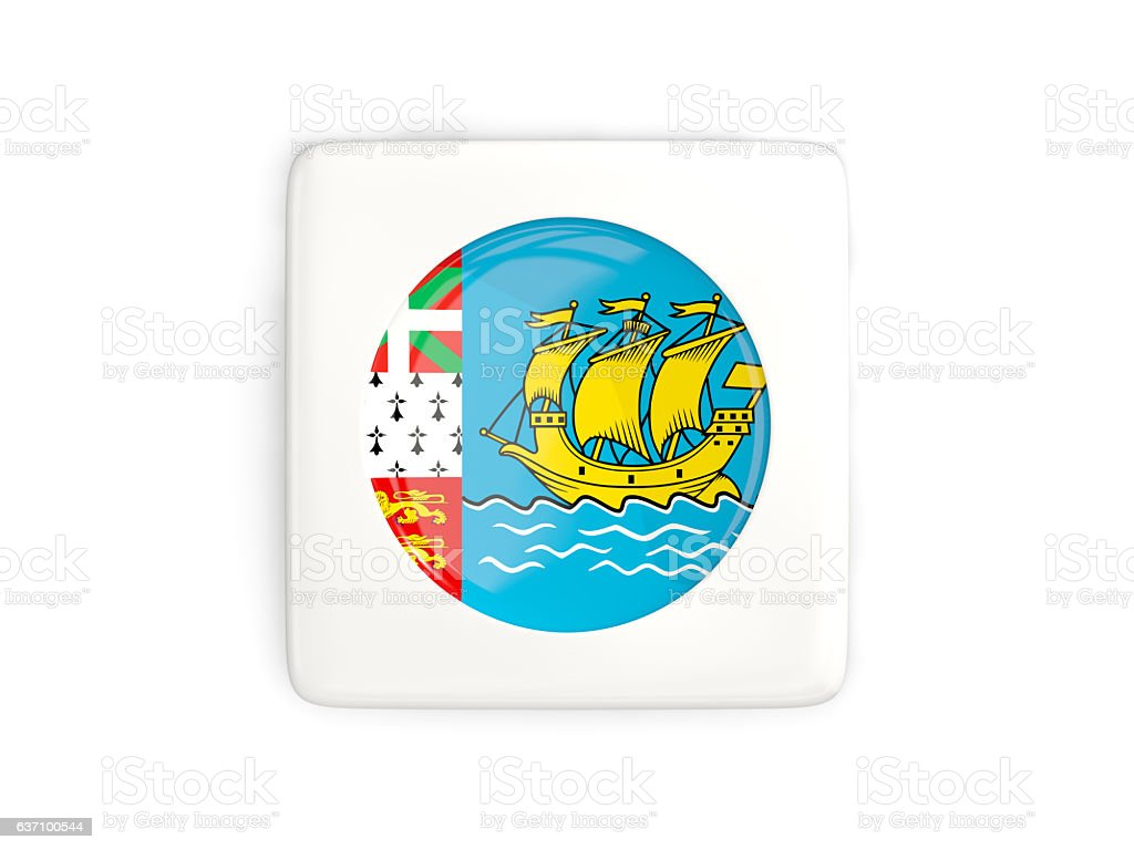 Square button with round flag of saint pierre and miquelon stock photo