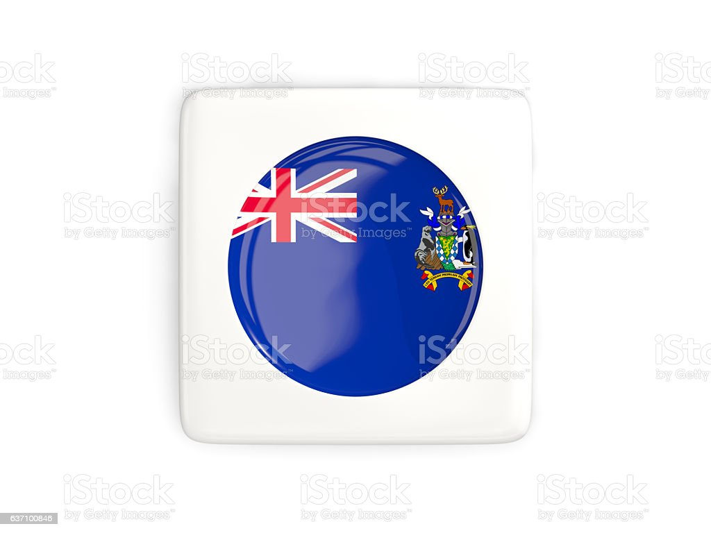 Square button with round flag of south sandwich islands stock photo