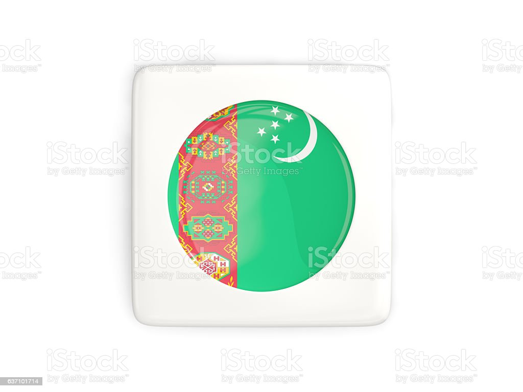 Square button with round flag of turkmenistan stock photo