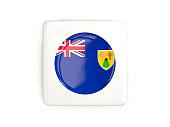 Square button with round flag of turks and caicos islands