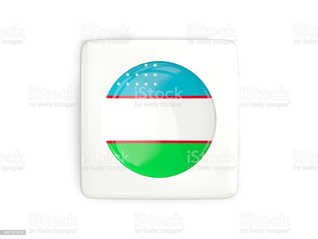 Square button with round flag of uzbekistan stock photo