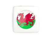 Square button with round flag of wales