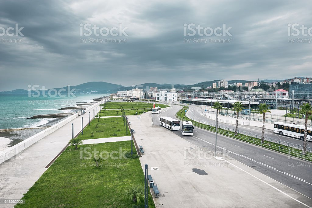 Square by Adler railway station before the rain. stock photo