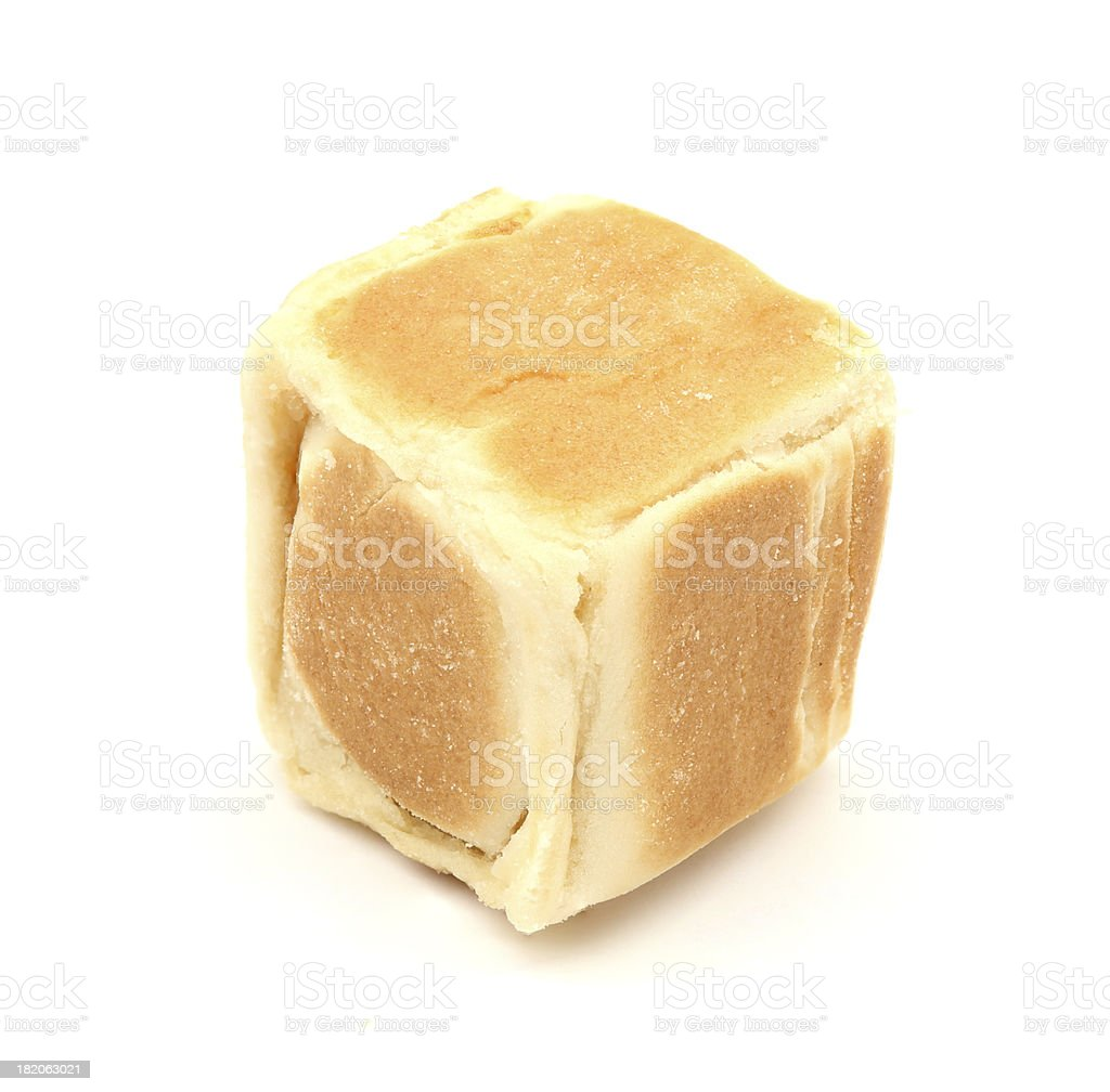 square chinese cake on white stock photo