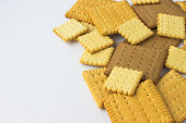 Square cookies on a white background