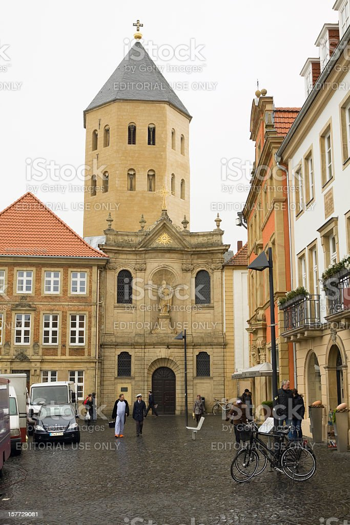 Square Domplatz in Paderborn stock photo