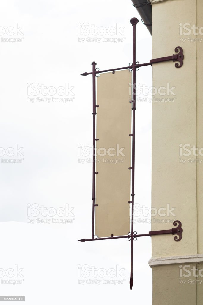 vertical front view of empty square signage with metallic frame on a...