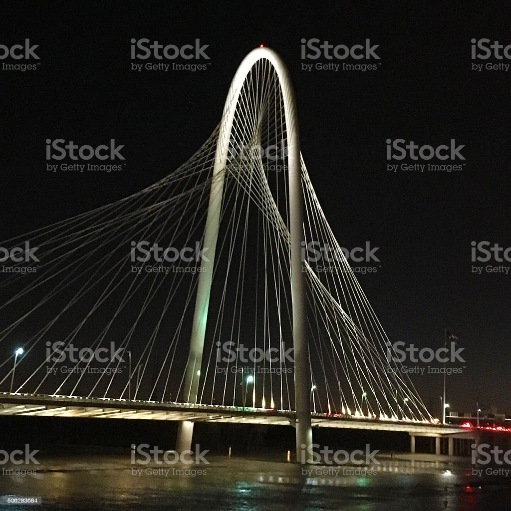Square format view of bridge into Dallas stock photo