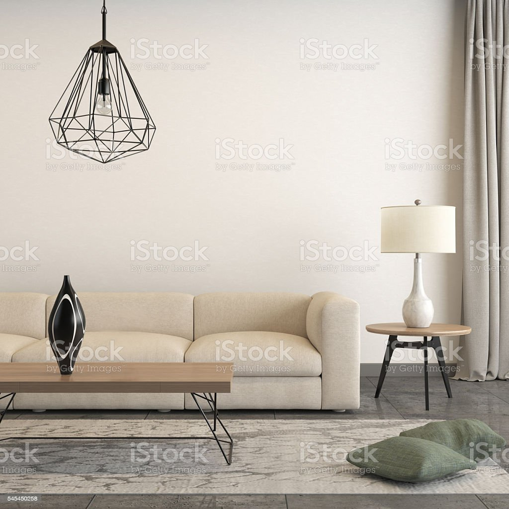 Square frame focused on a sofa with interior decorative pieces stock photo