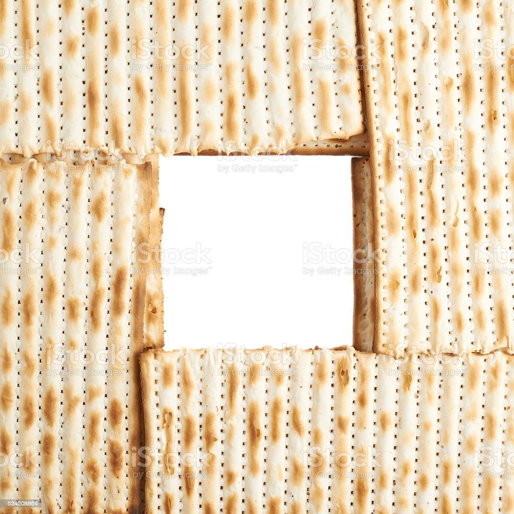 Square frame formed with matza flatbread stock photo